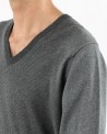 Pull gris col V Ly Adams