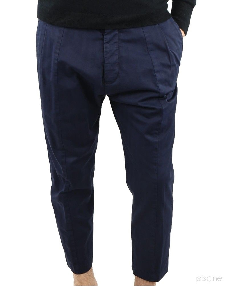 Pantalon 7/8 bleu à pinces Low Brand