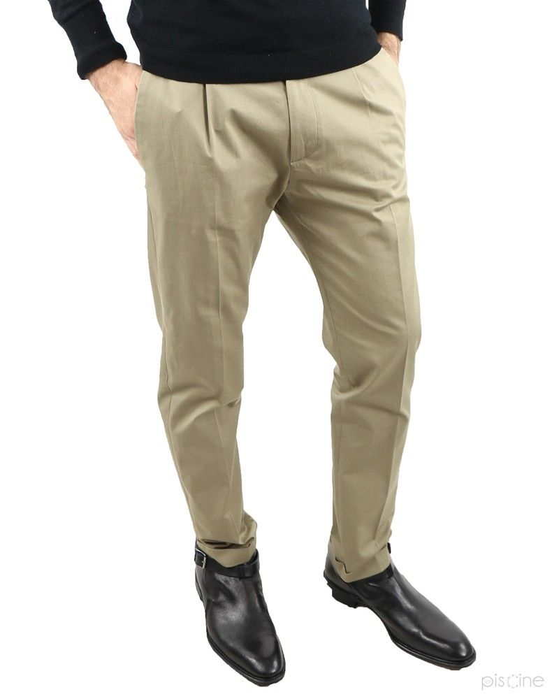 Pantalon beige à pinces Low Brand