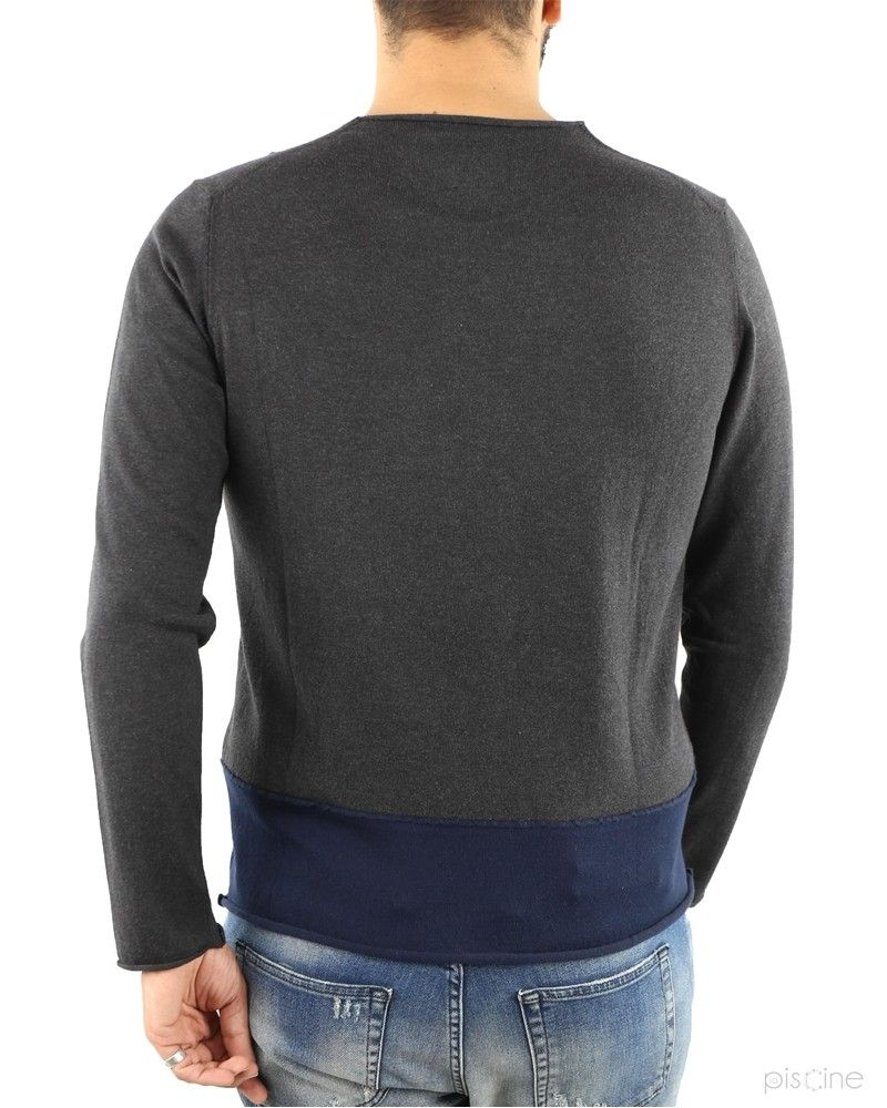 Pull fin gris bas contrastant Soho