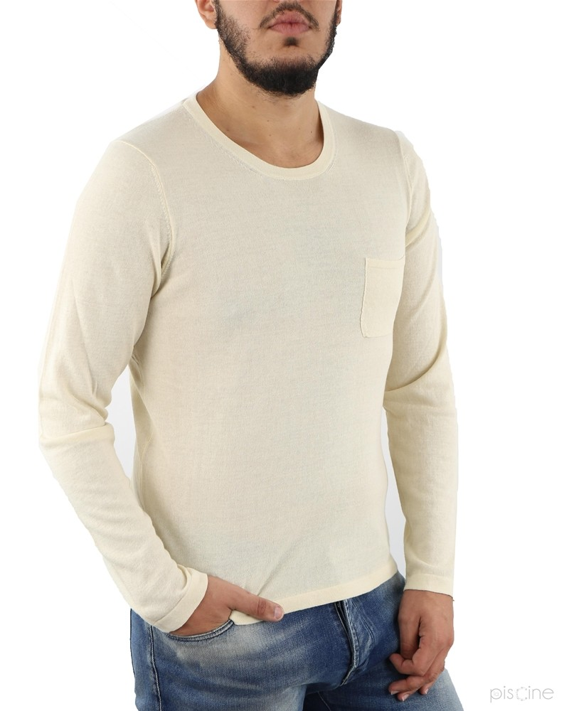 Pull fin beige col rond Re-Edition