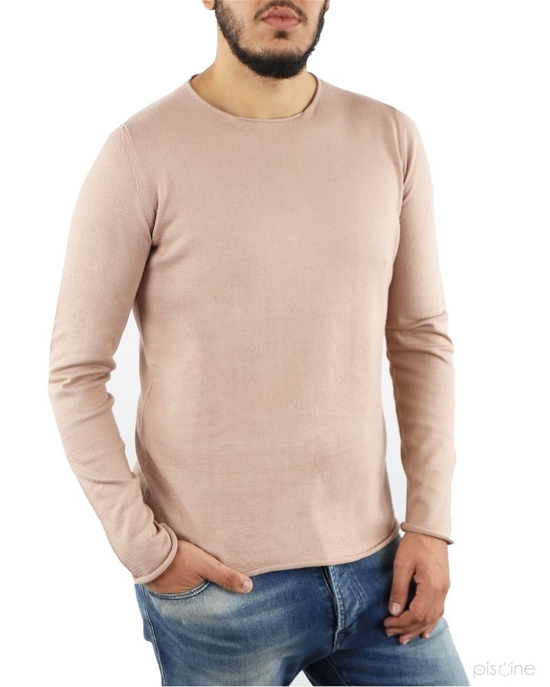 Pull fin rose en coton Re-Edition