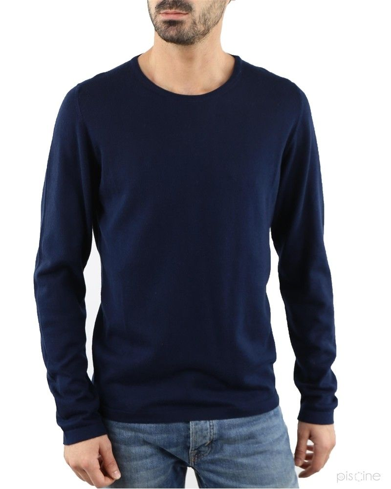 Pull fin bleu col rond Re-Edition