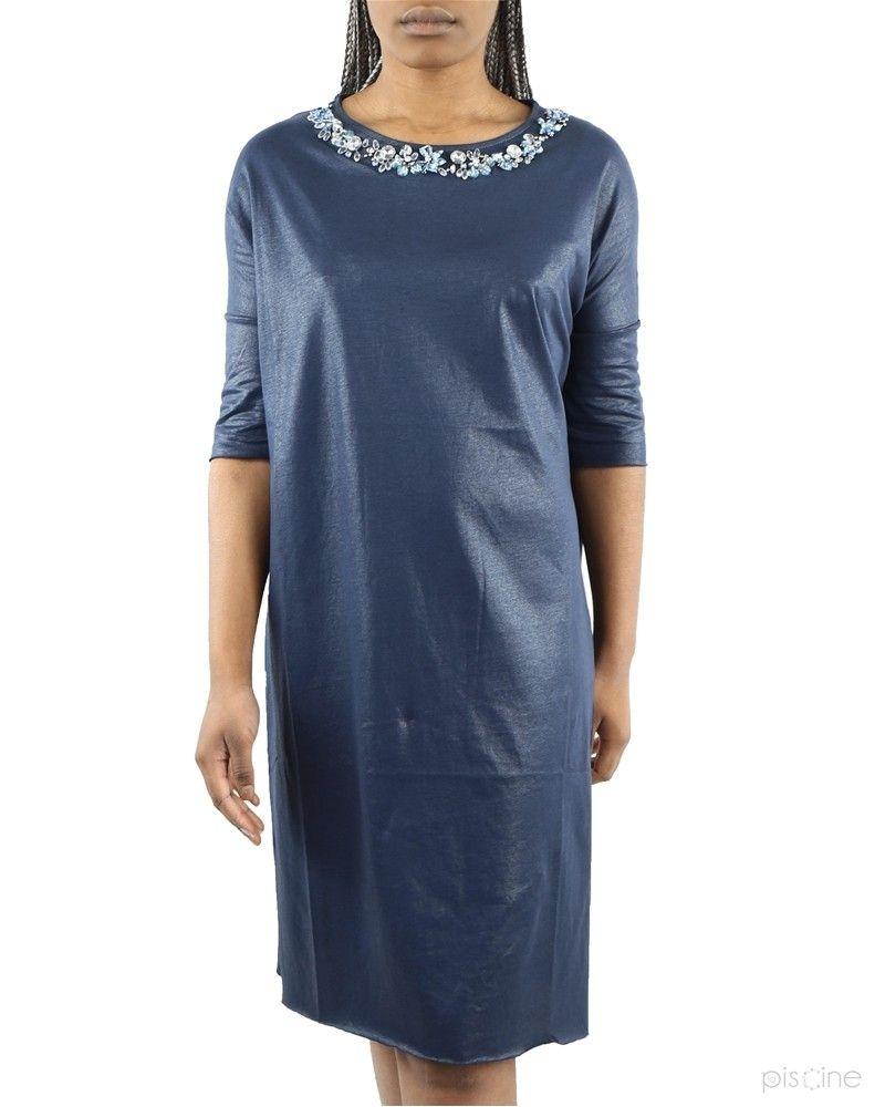 Robe bleue col bijoux Jijil