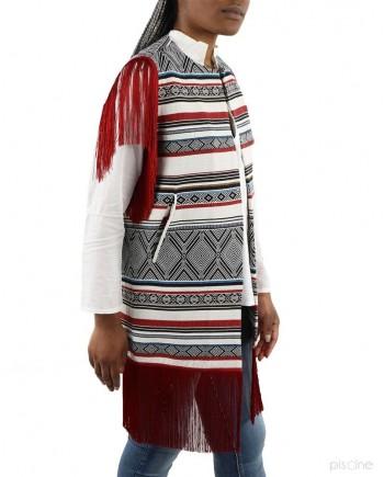 Gilet long rouge et blanc Jijil