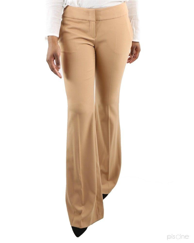 Pantalon marron beige évasé Michael Kors