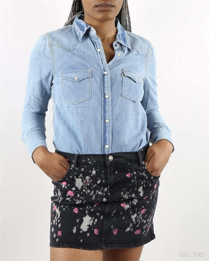 Jupe en jean noir tachée Nikkie