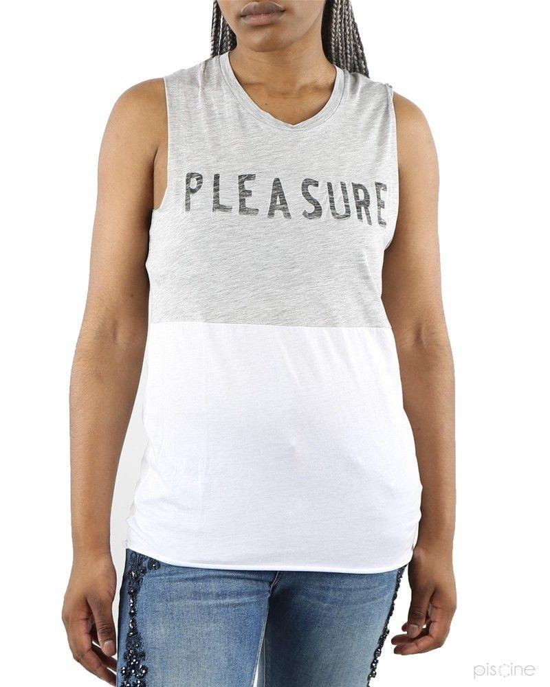 """T-Shirt sans manches gris et blanc """"Pleasure"""" Zoe Karssen"""