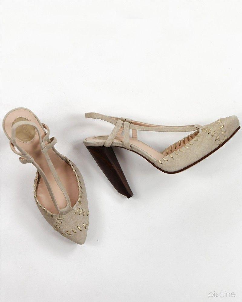 Sandales à talons beige Trussardi