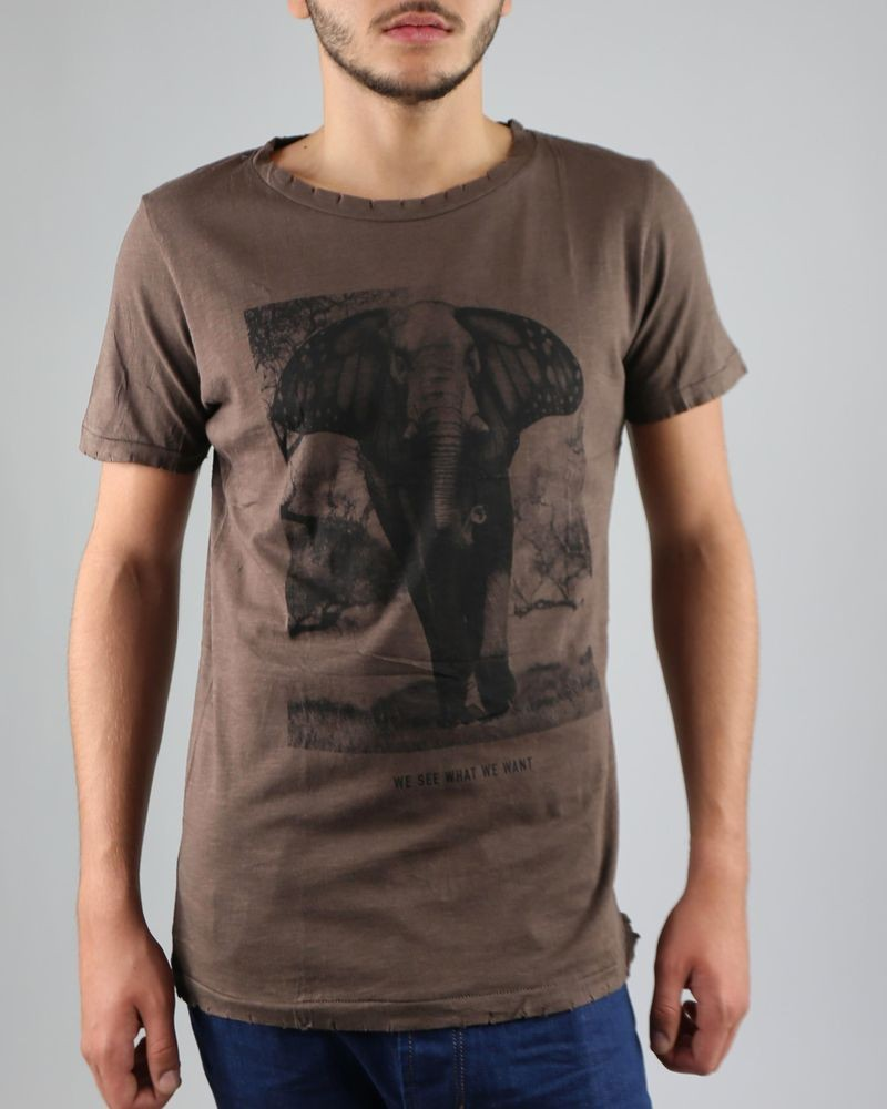 "T-Shirt marron ""Elephant"" Casheart"