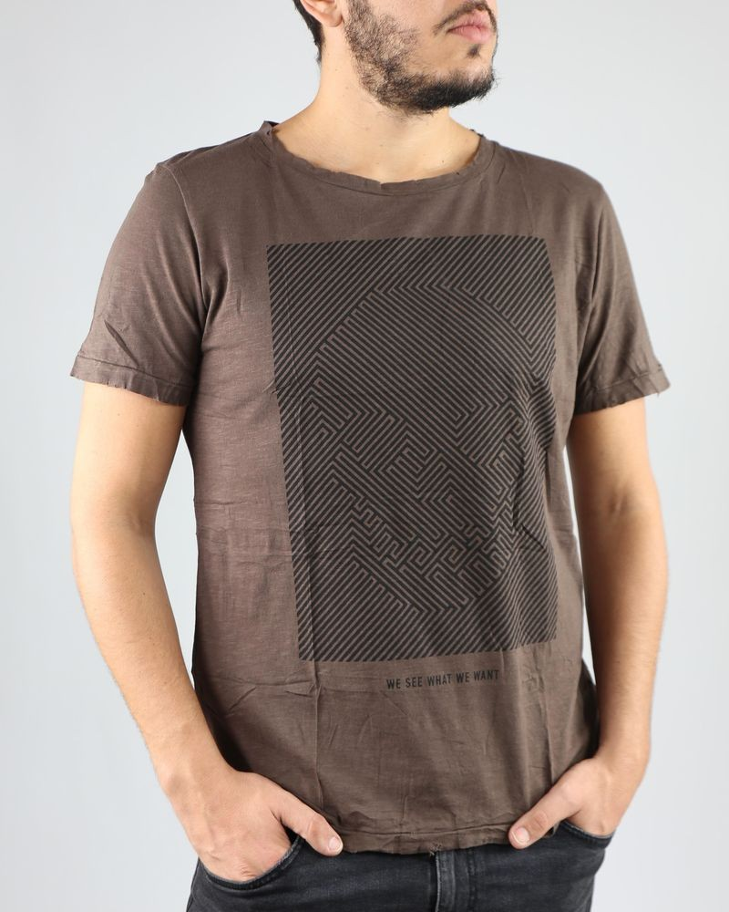 "T-Shirt marron ""Labyrinthe"" Casheart"