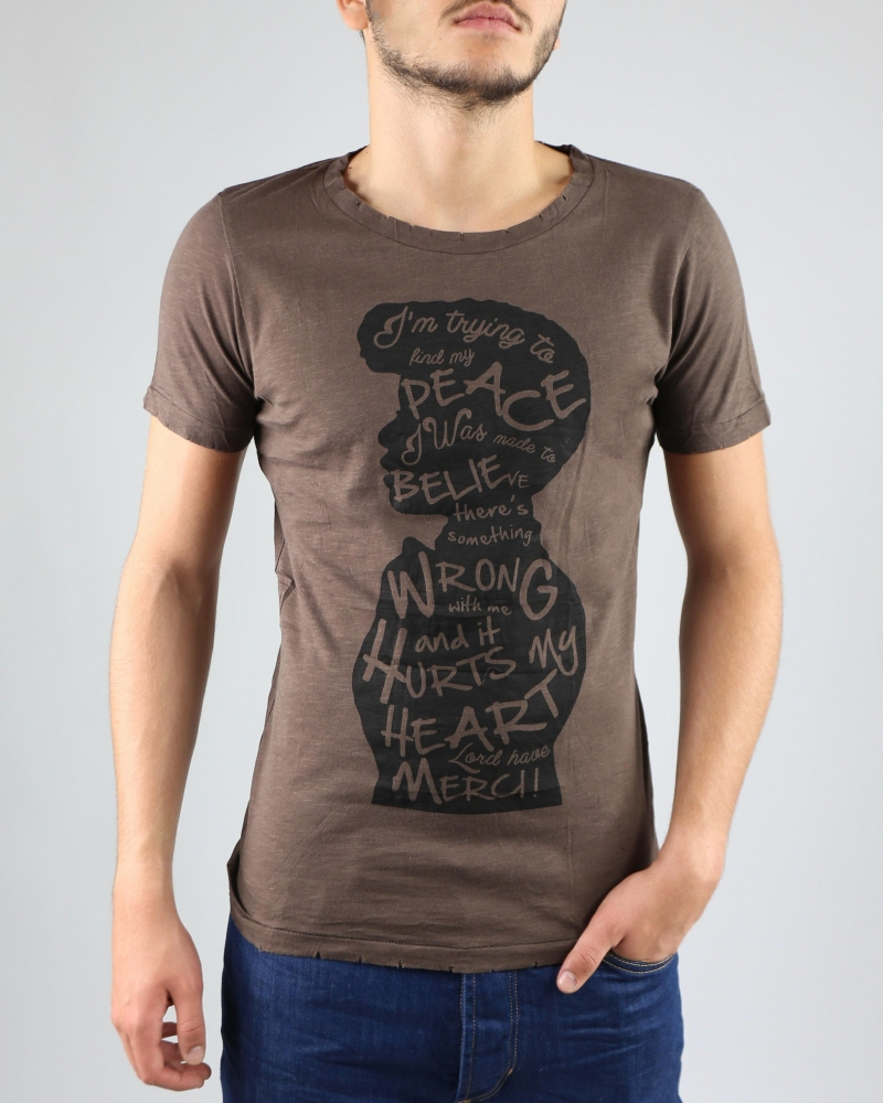 "T-Shirt marron ""Peace"" Casheart"