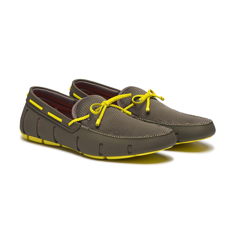 Chaussure bateau kaki et jaune Swims