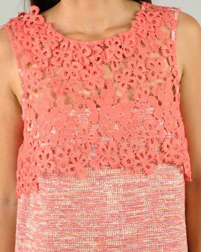 Robe rose fleurie ajourée Nenette