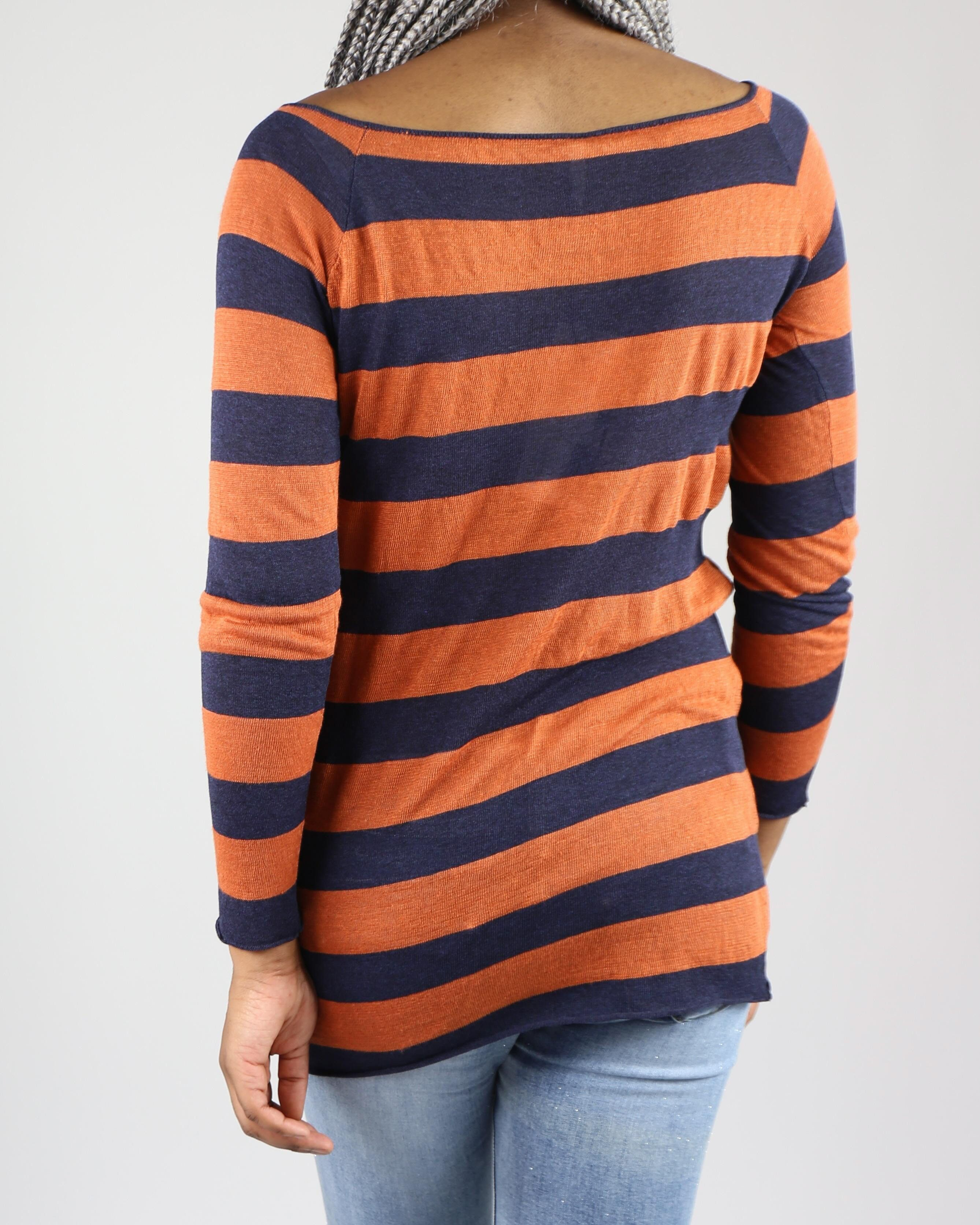 Pull fin rayé orange et bleu Liis Japan