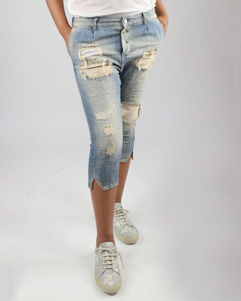 Pantacourt en jean effet déchiré bleu Manila Grace