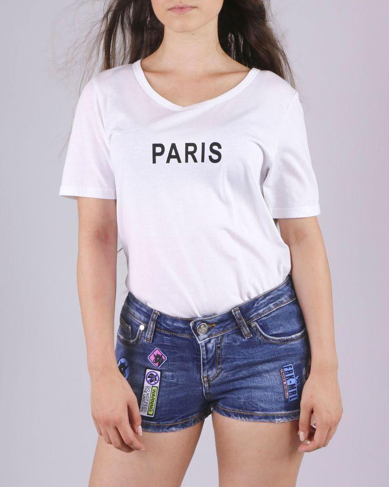 5640892060c8e4 Short en jean à patchs Frankie Morello