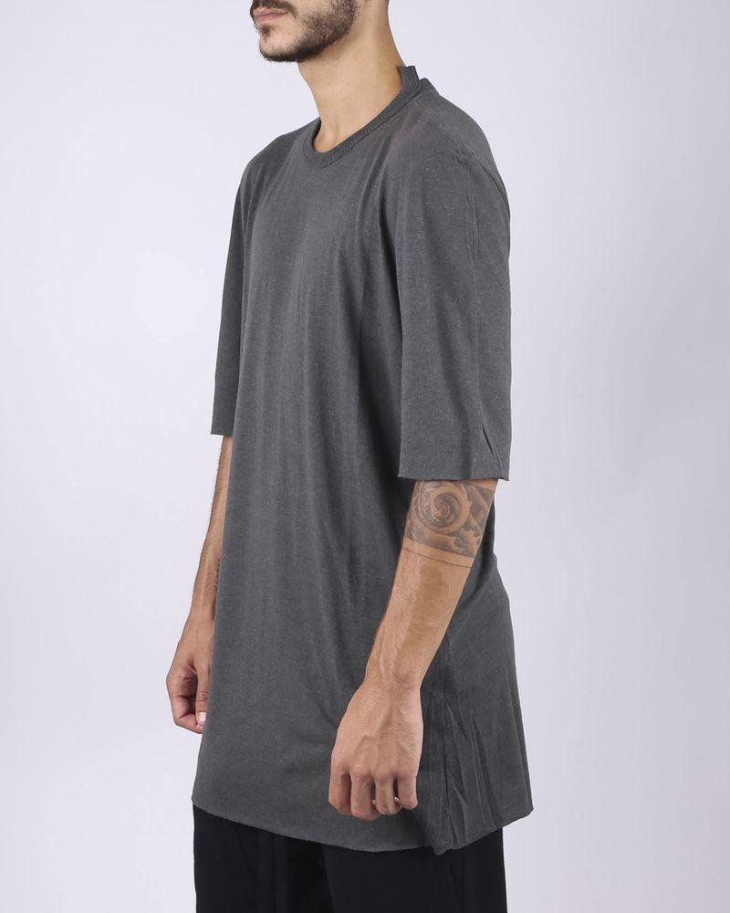 T-shirt col fantaisie gris anthracite
