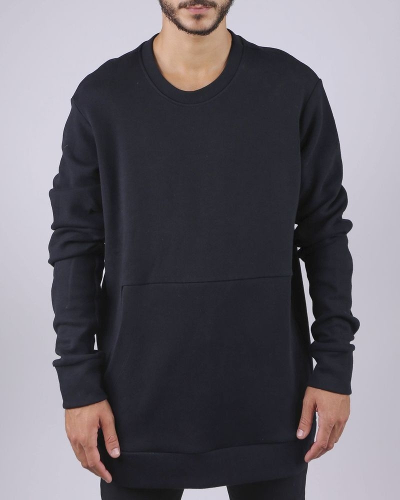 Sweat bi-matière noir à poche kangourou Lost & Found
