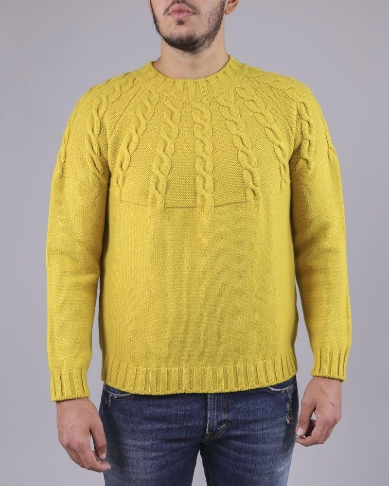 Pull en maille de laine torsadé jaune Soho