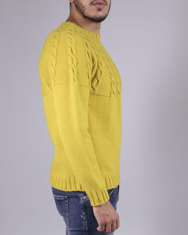 f36e5e724e3 Pull en maille de laine torsadé jaune Soho pas cher - Outlet La Pis...
