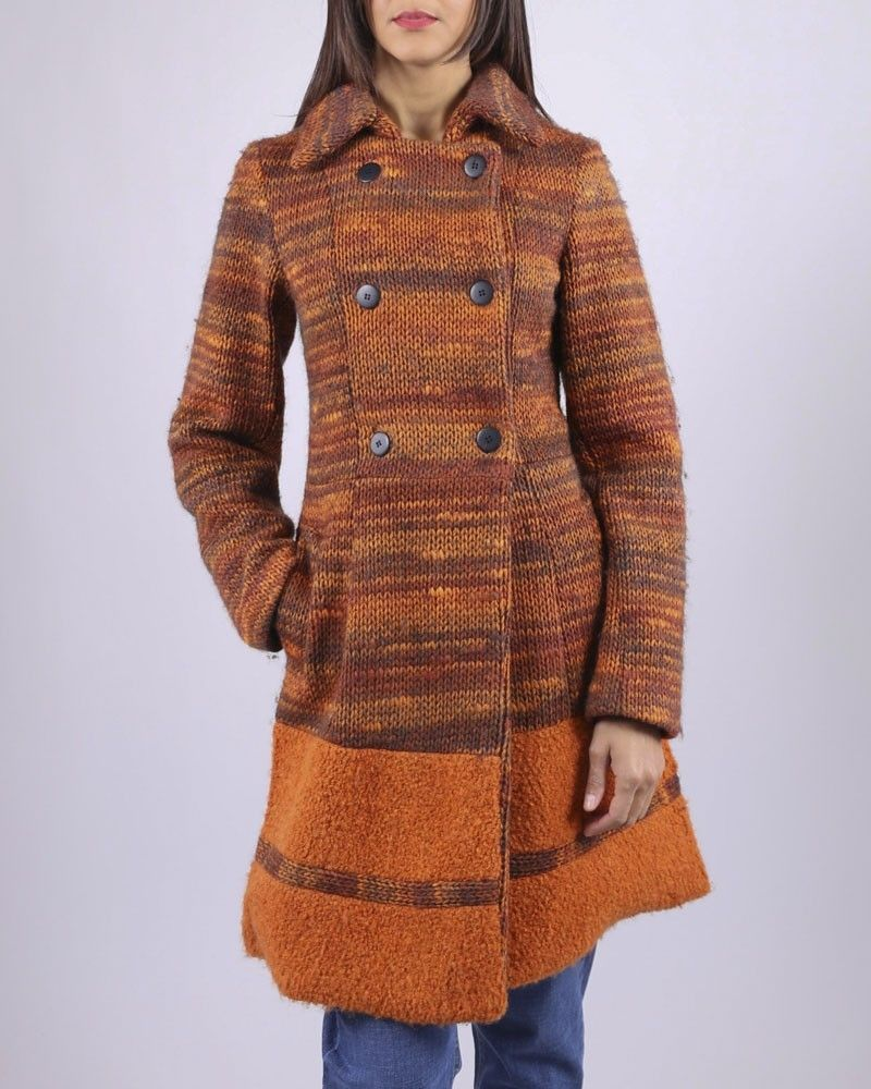 Manteau orange à rayures en maille Studio