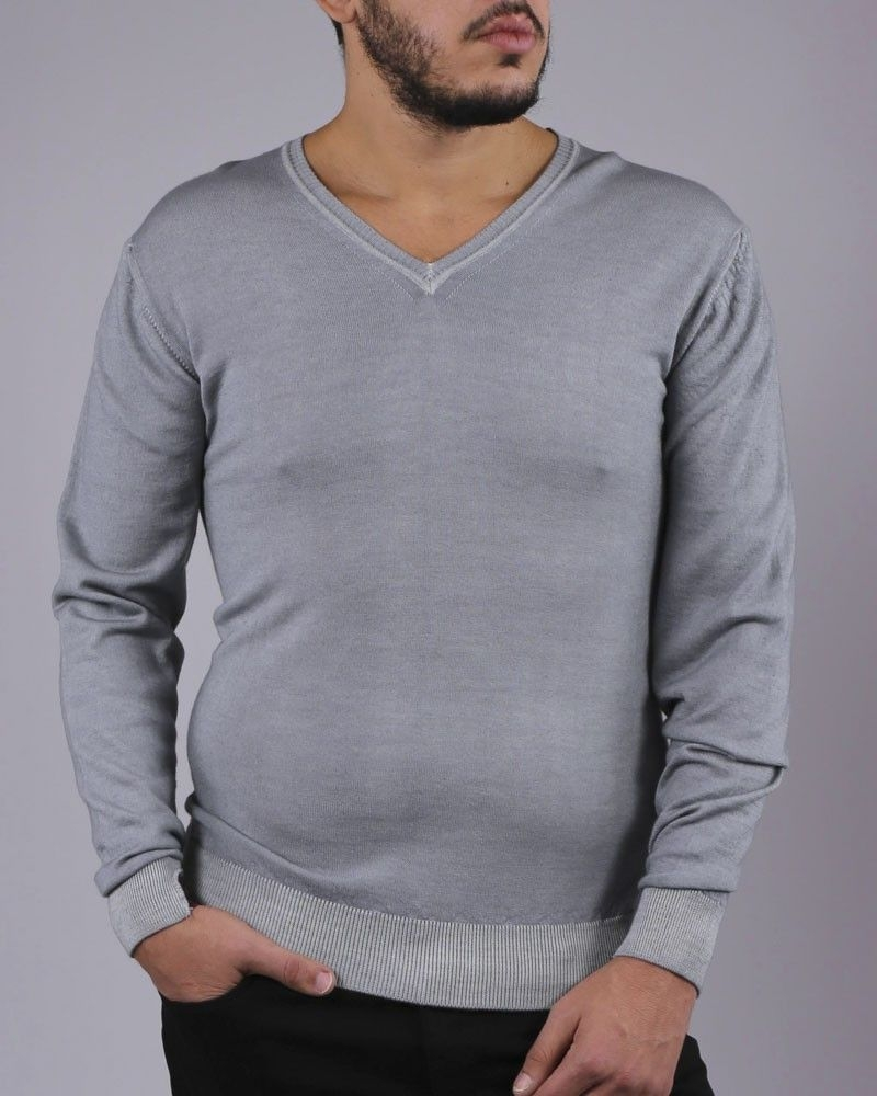 Pull manches longues bleu gris WOOLGROUP