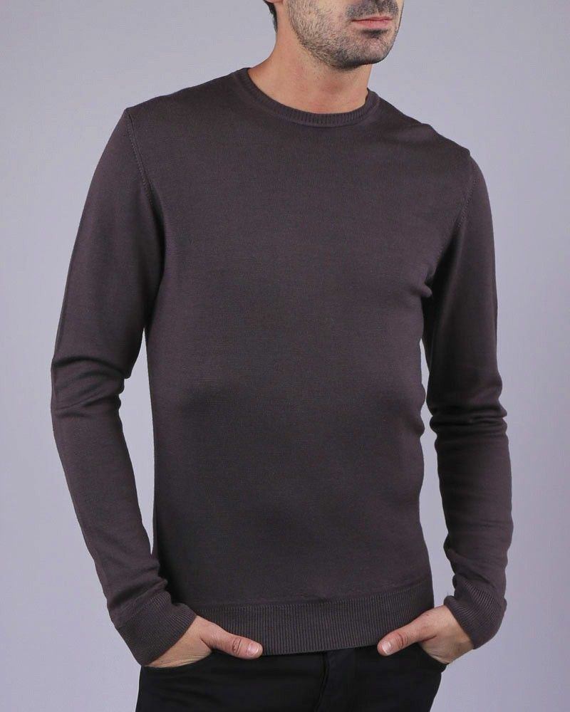 Pull manches longues marron WOOLGROUP