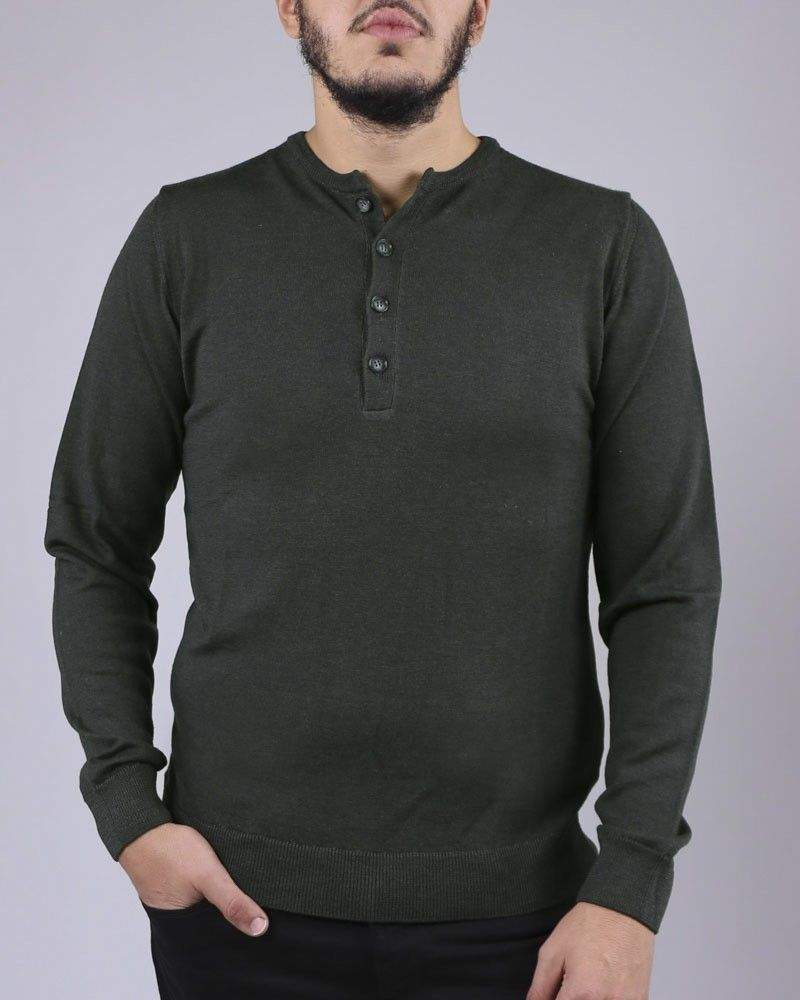 Pull col boutons gris vert WOOLGROUP