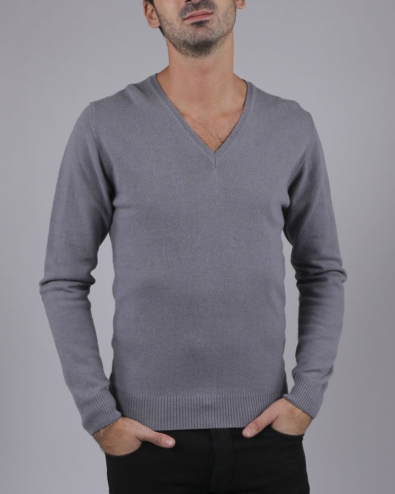 Pull col V gris FIESOLI