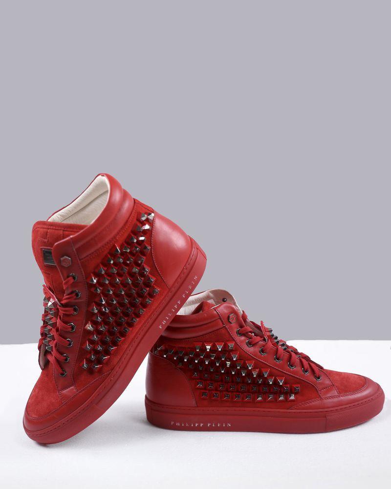 7e9075a60c3a4e Baskets montantes rouges cloutées Philipp Plein pas cher - Outlet L...