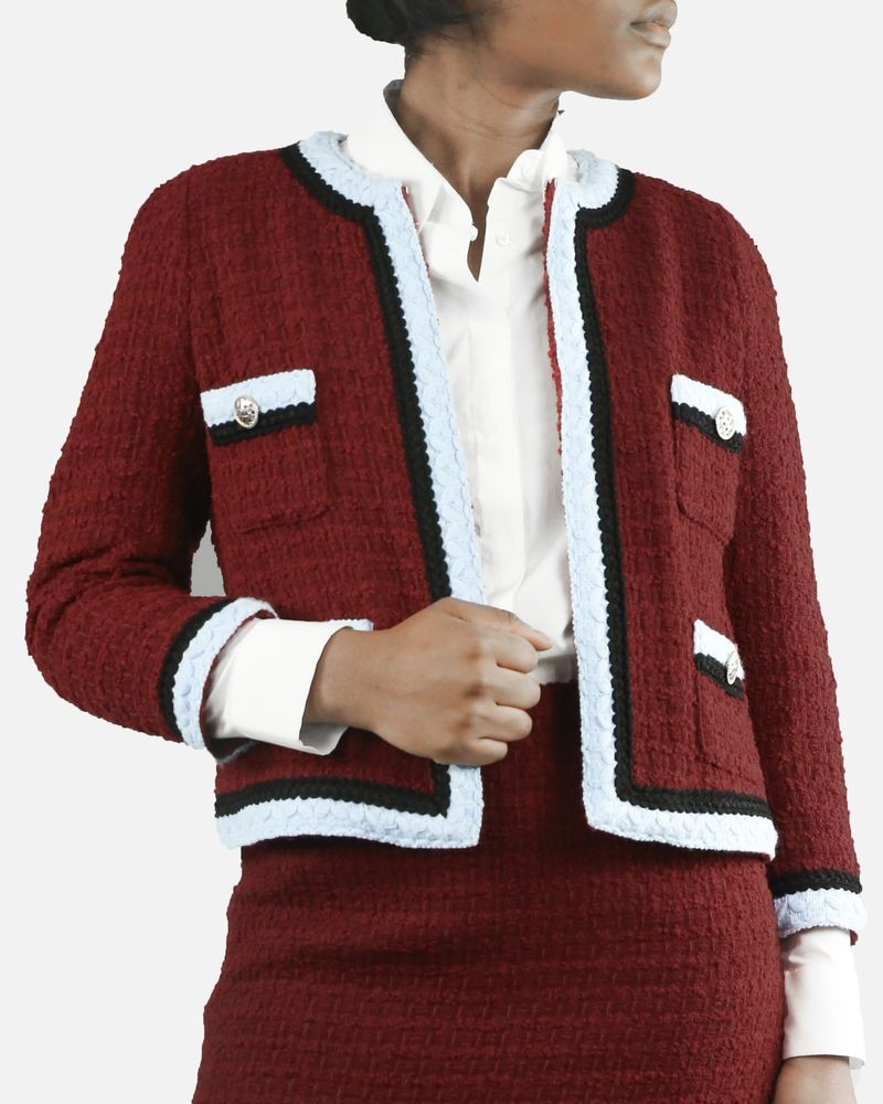 Veste rouge en tweed Edward Achour