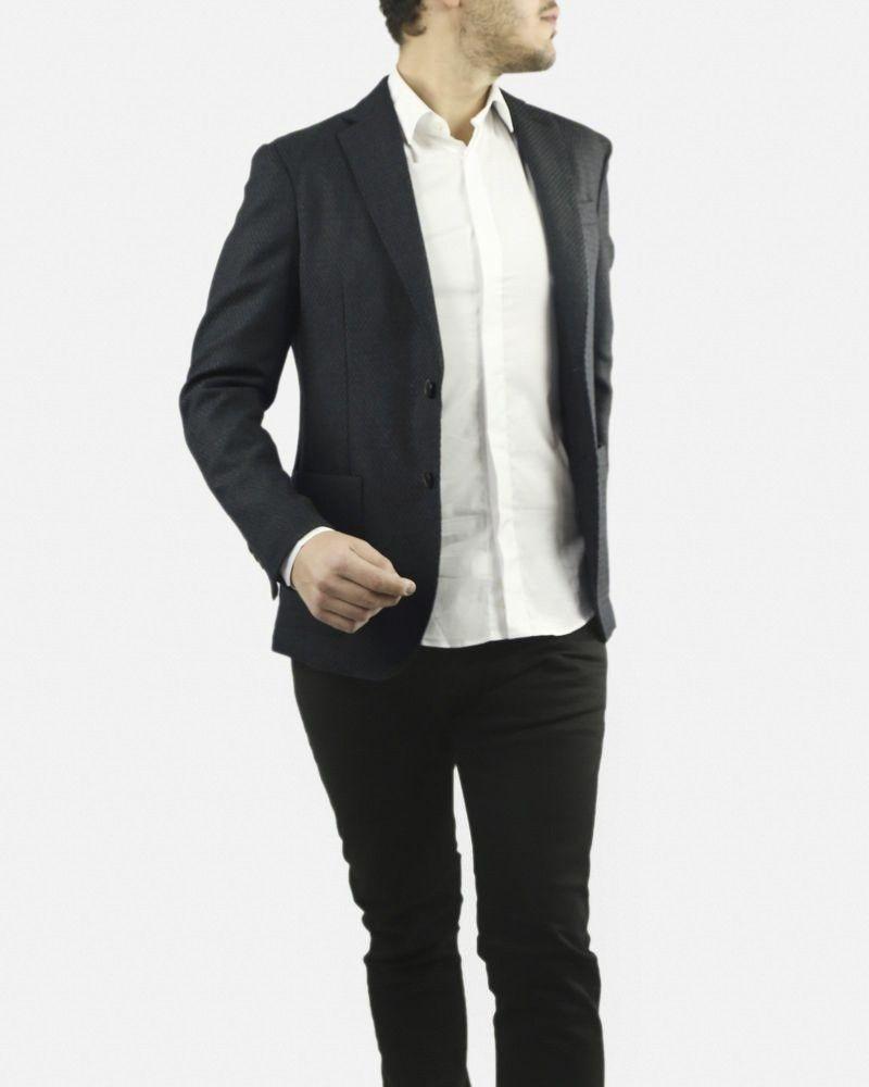 Veste texturée noire et kaki en laine Luca Capri