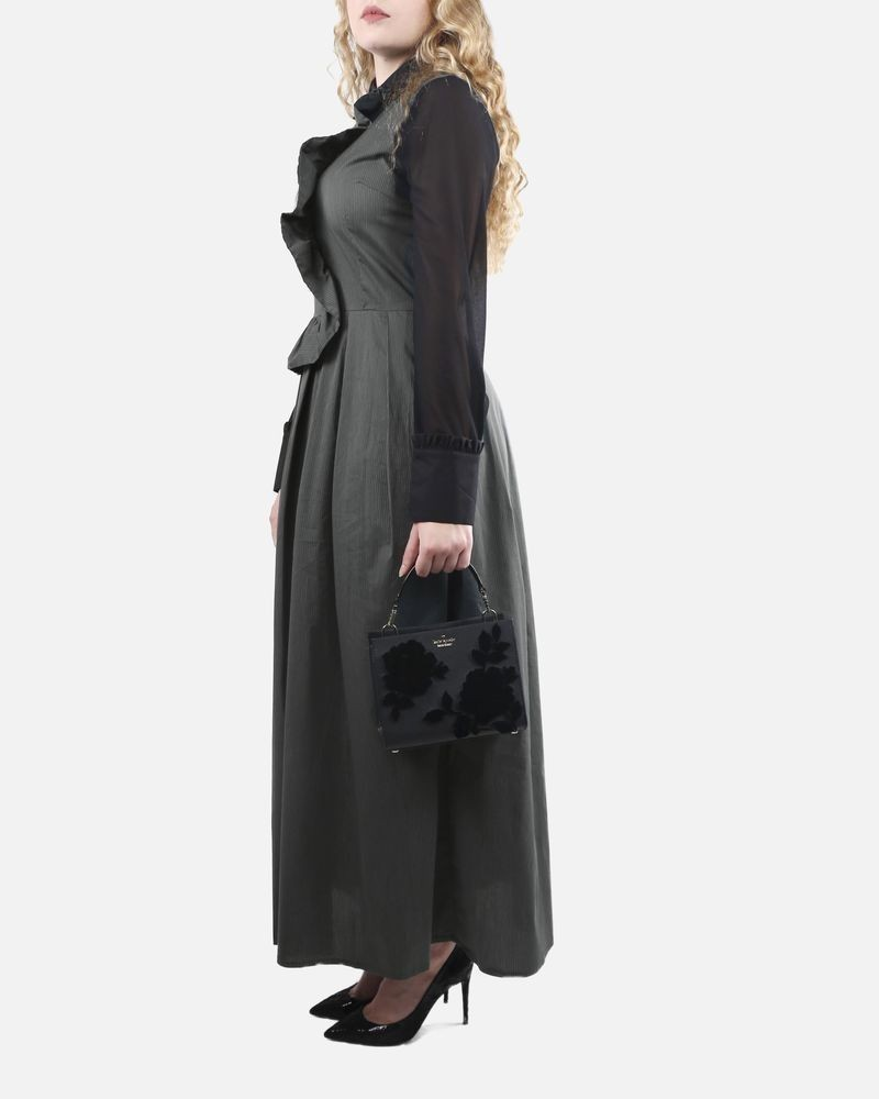Robe longue kaki à rayrures Isabelle Blanche