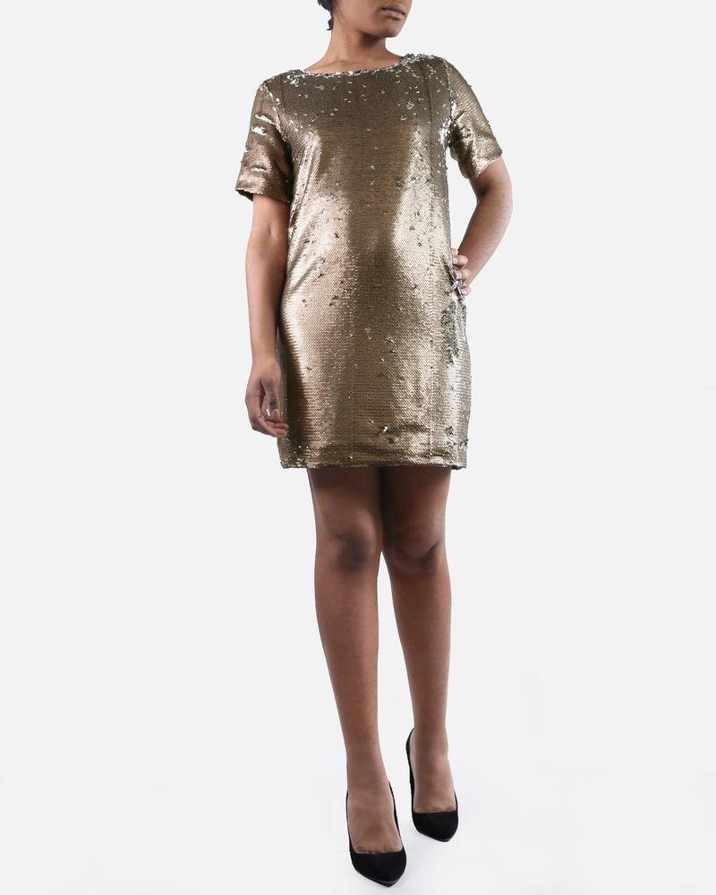 Robe dorée/argent à sequins Isabelle Blanche