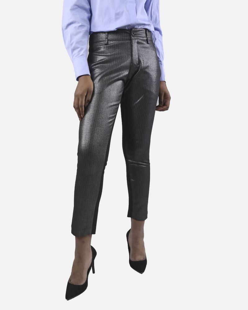 Pantalon gris à rayures Isabelle Blanche