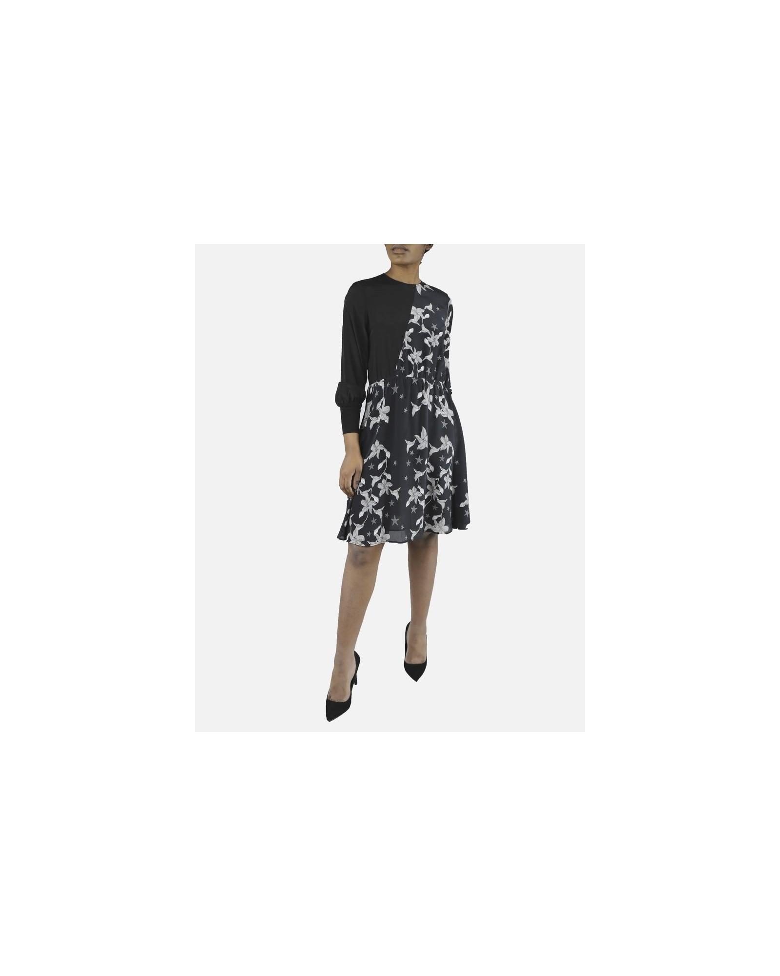 Robe noire à fleurs en soie Isabelle Blanche