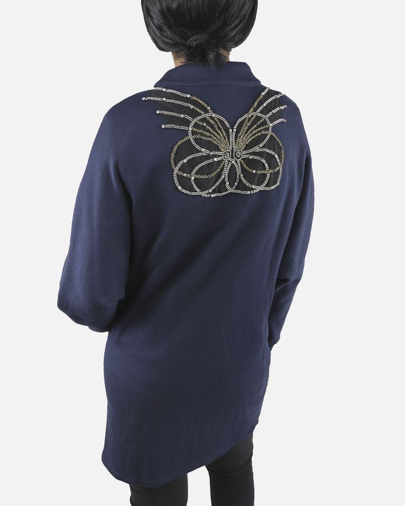 Gilet bleu à strass Isabelle Blanche