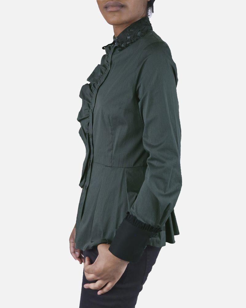 Chemise verte à volants Isabelle Blanche