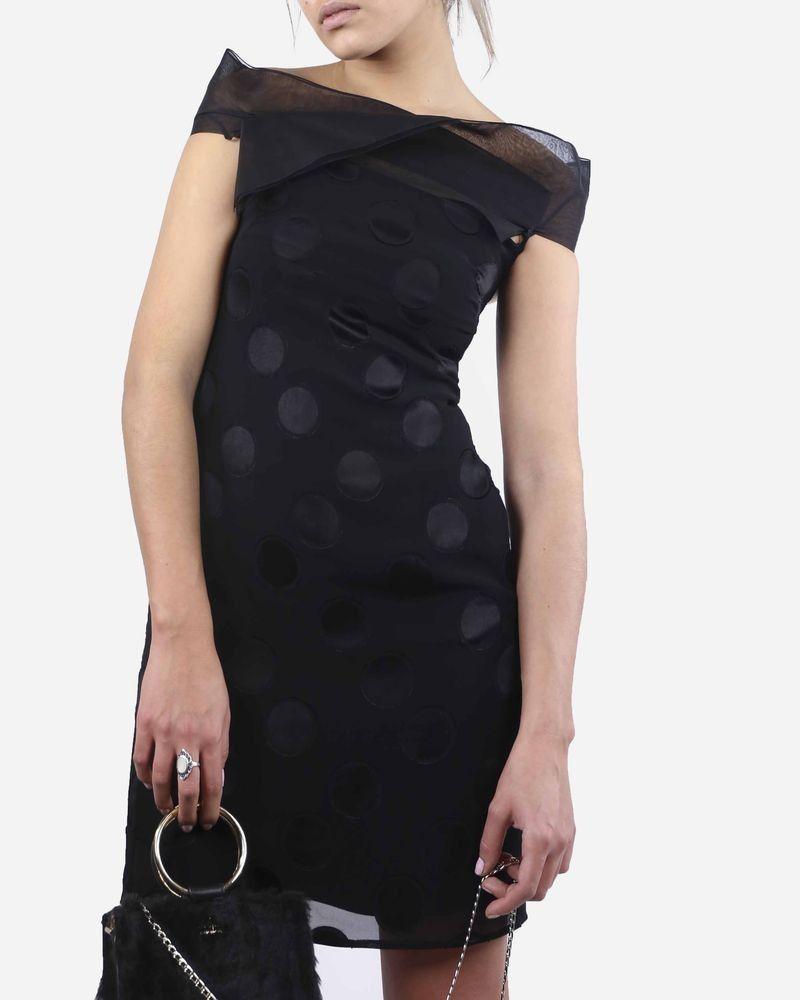 Robe noire à pois en soie Costume National