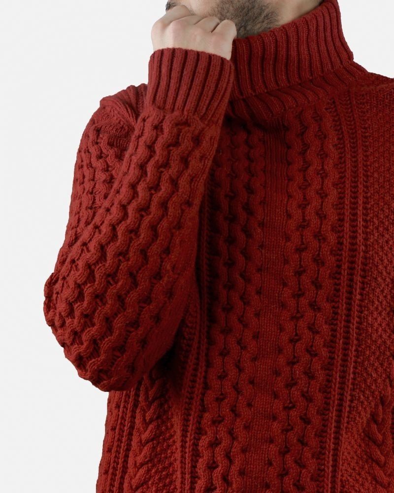 Pull col roulé en maille rouge Melinda Gloss