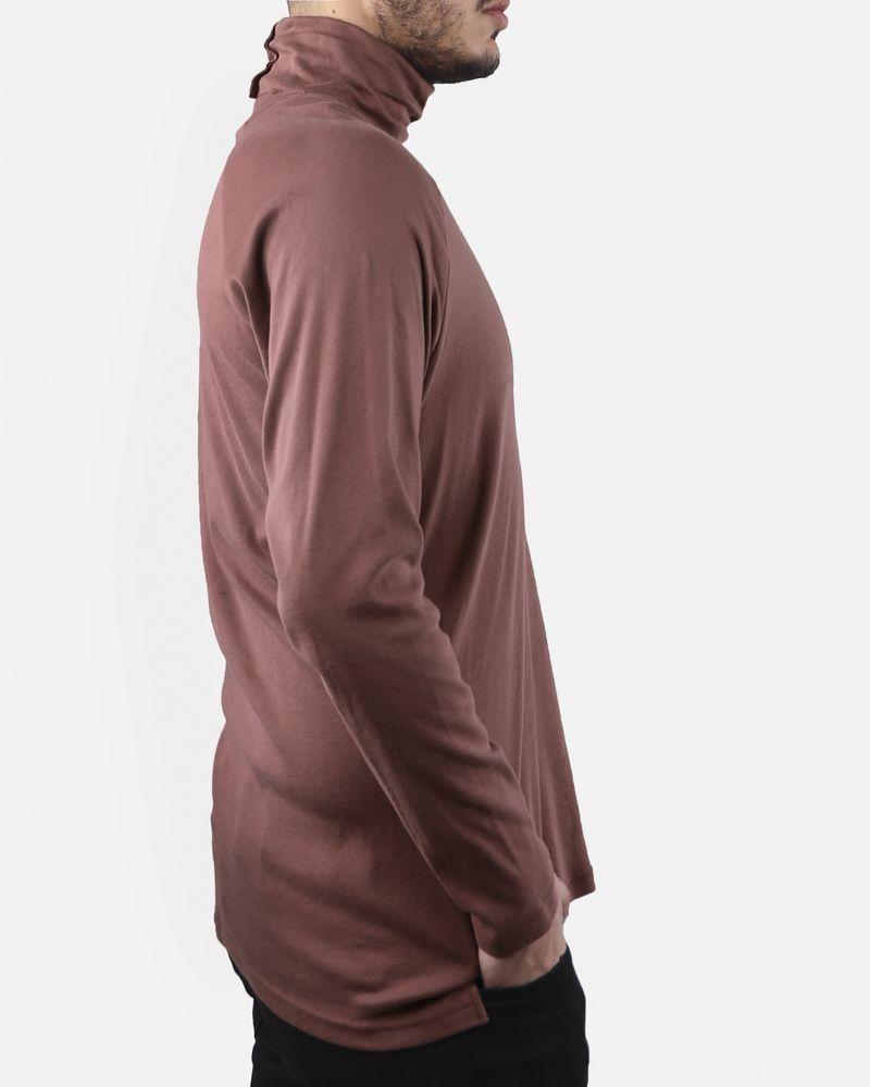 T-Shirt rose poudré foncé manches longues col roulé Melinda Gloss