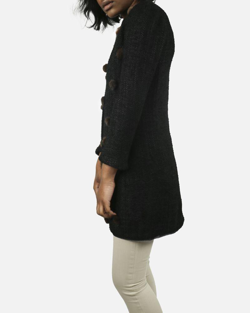 Manteau noir à pompons en vison Edward Achour