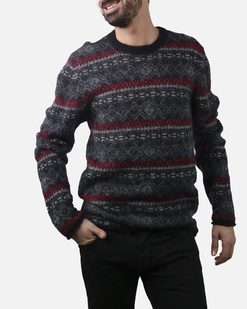 Pull gris en laine à motifs Woolgroup Fiesoli