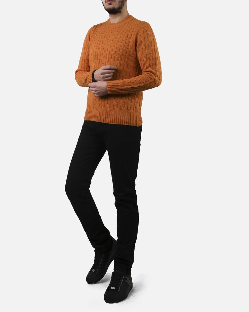 Pull jaune moutarde col rond Panicale Cashmere
