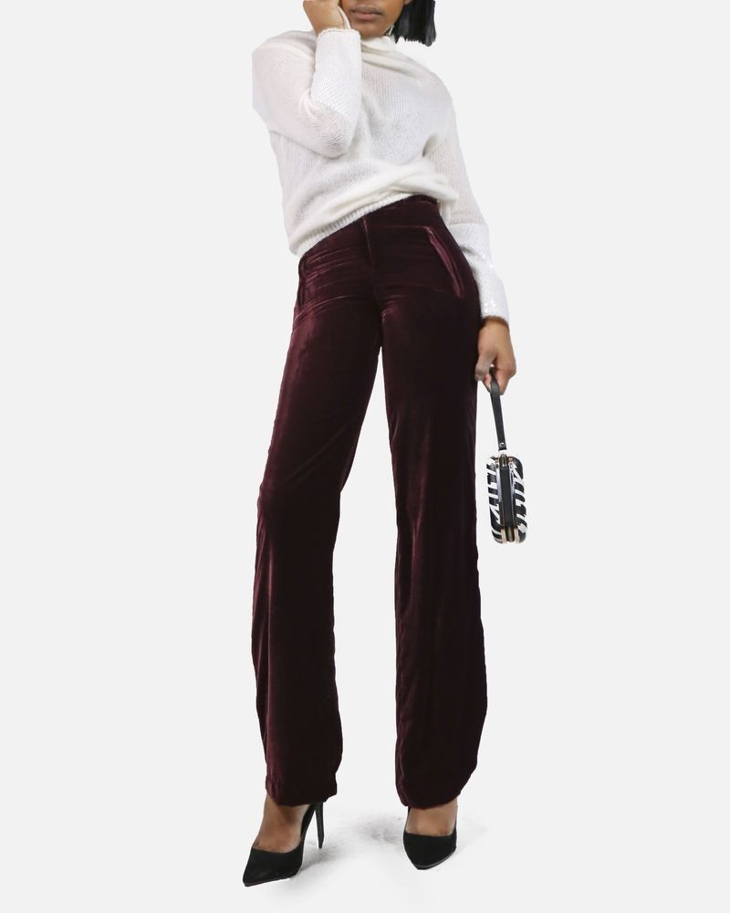 Pantalon bordeaux en velours Space Simona Corsellini