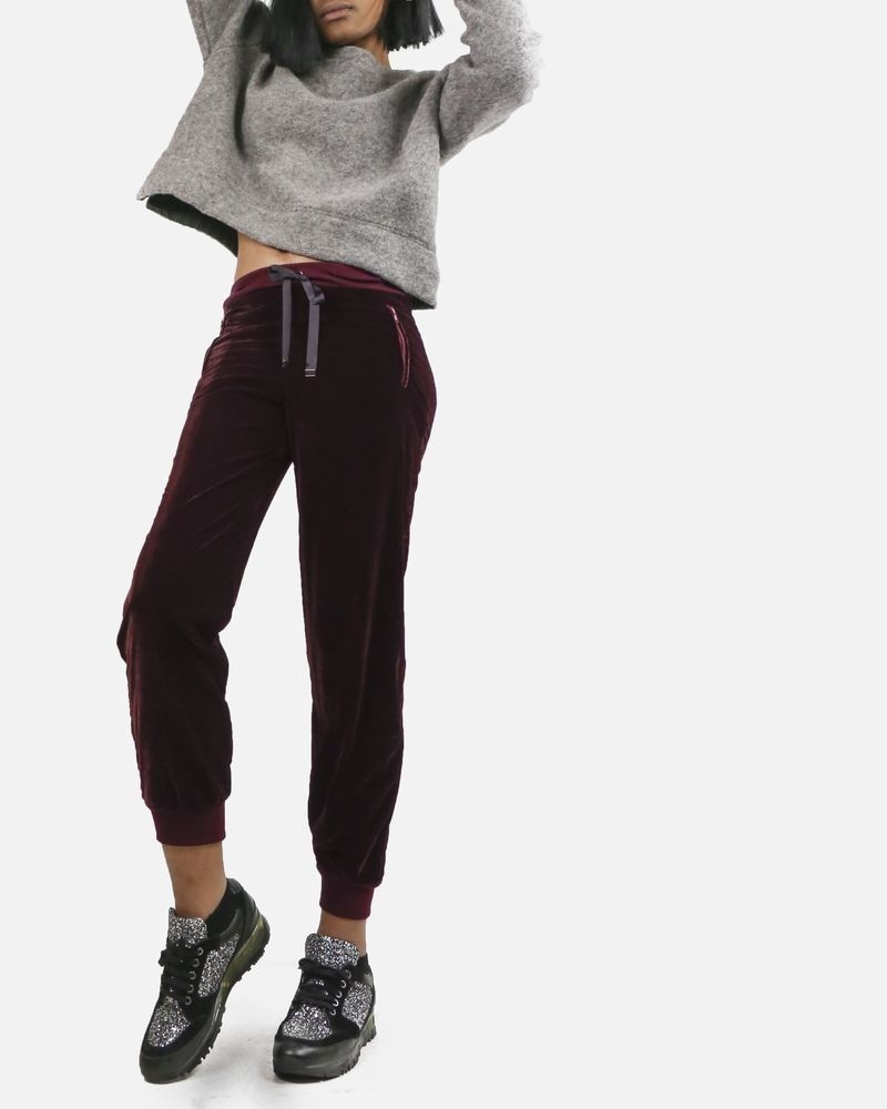 Pantalon jogging velours bordeaux Space Simona Corsellini