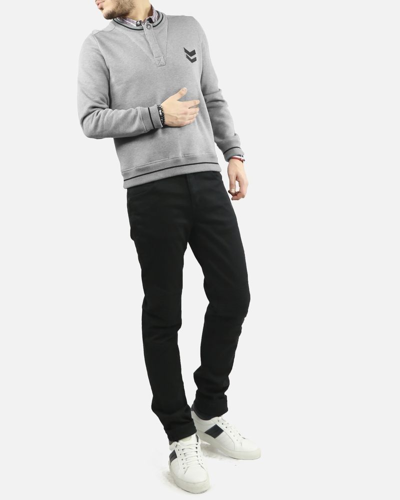 Sweat gris avec col chemise Frankie Morello