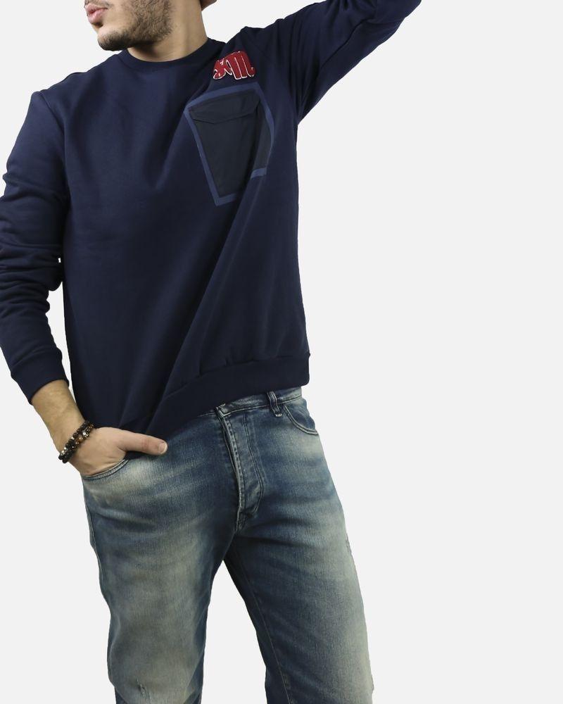 Sweat bleu à poches Frankie Morello