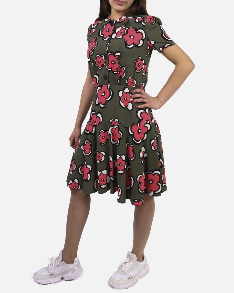 Robe kaki à fleurs Valentino